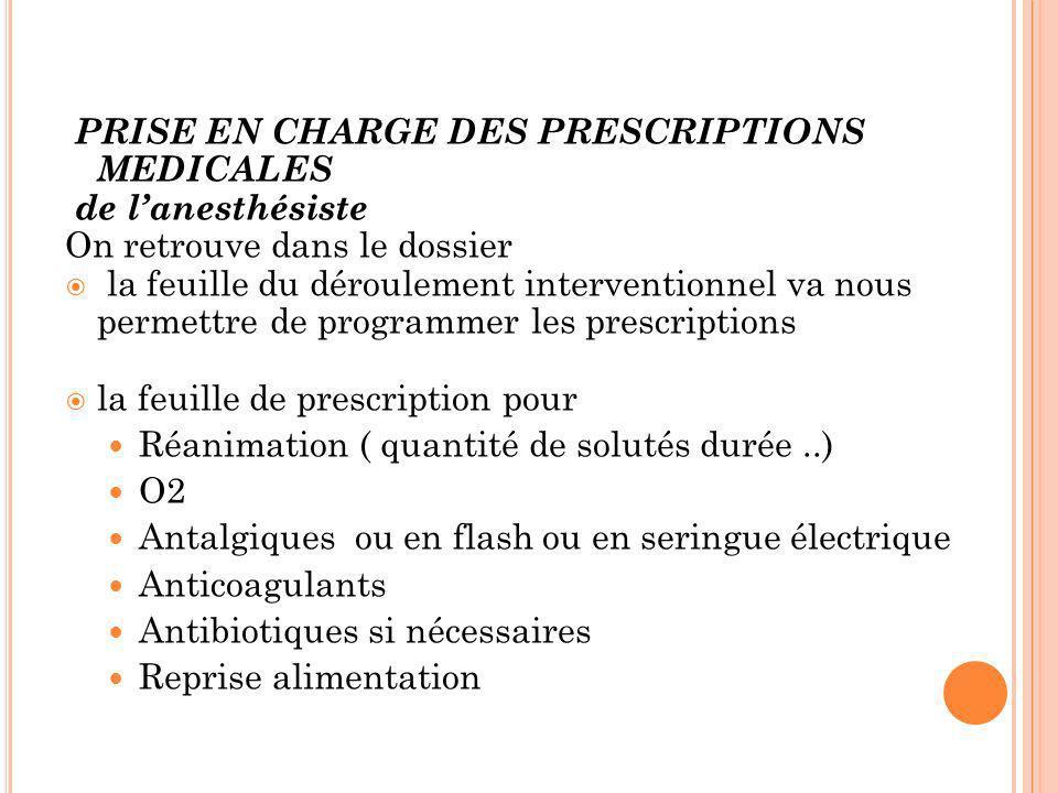 PRISE EN CHARGE DES PRESCRIPTIONS MEDICALES