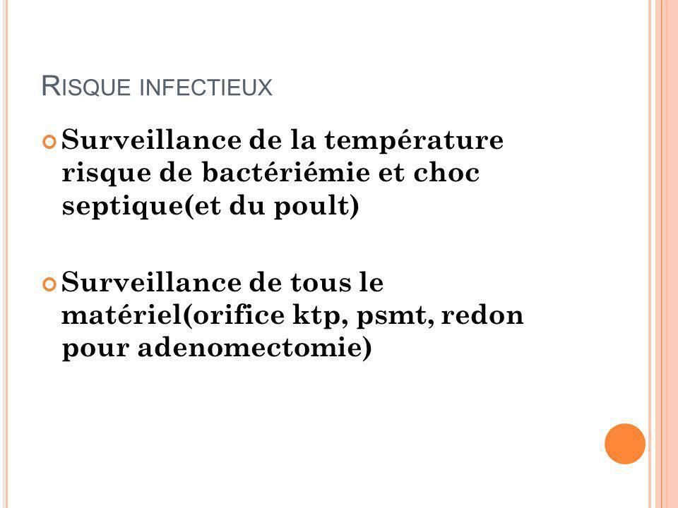 Risque infectieux Surveillance de la température risque de bactériémie et choc septique(et du poult)