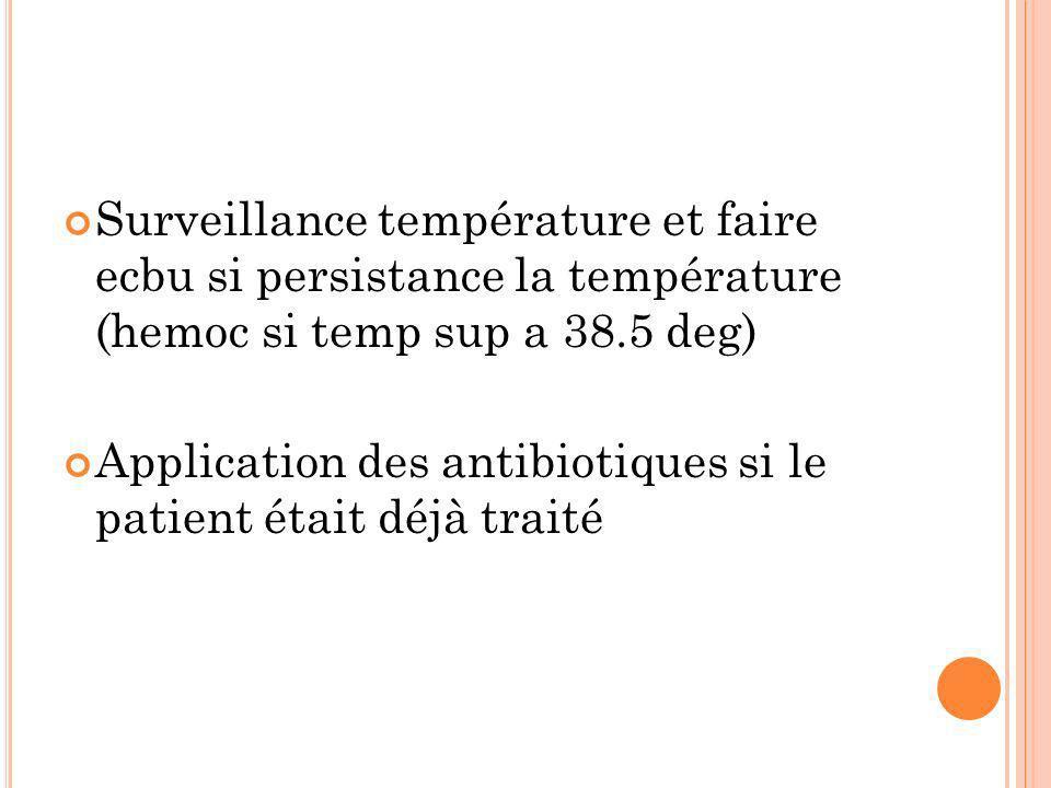 Surveillance température et faire ecbu si persistance la température (hemoc si temp sup a 38.5 deg)