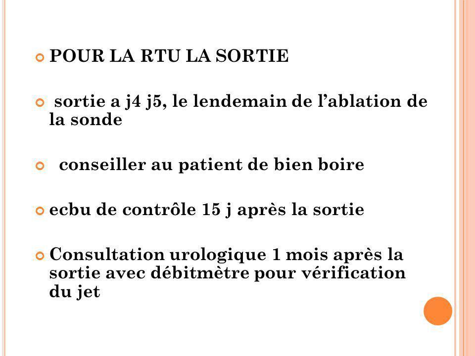 POUR LA RTU LA SORTIE sortie a j4 j5, le lendemain de l'ablation de la sonde. conseiller au patient de bien boire.