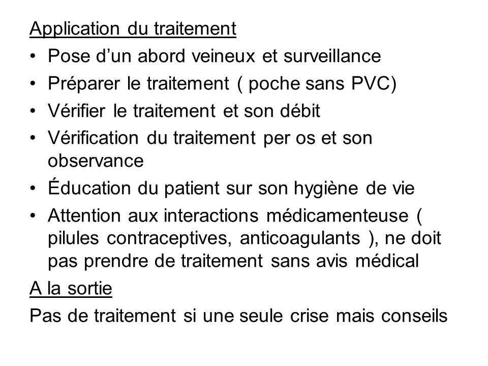 Application du traitement