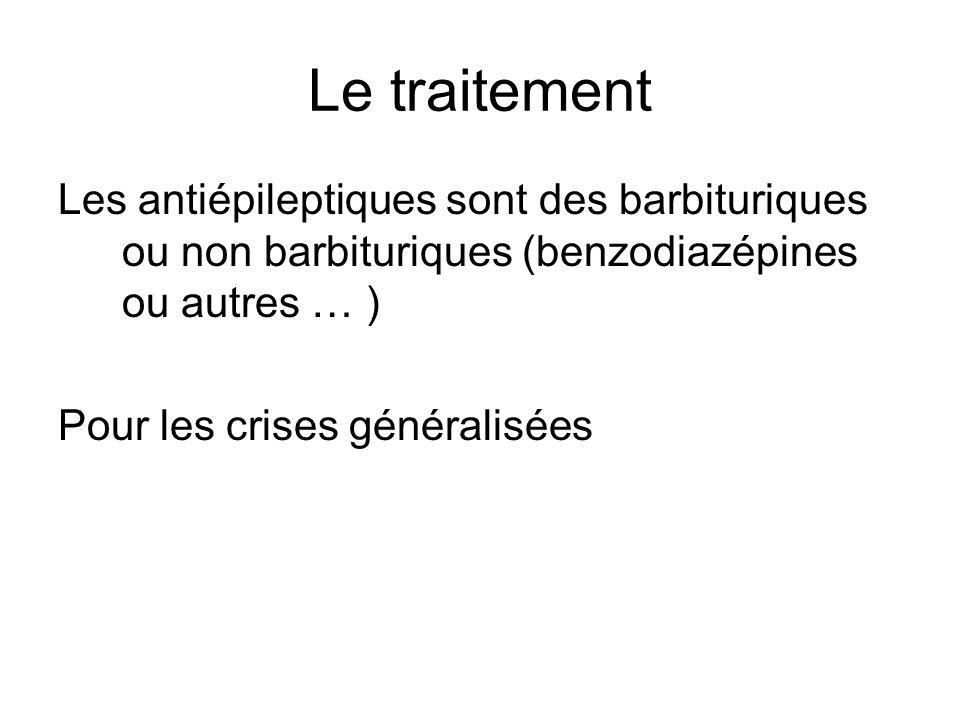 Le traitement Les antiépileptiques sont des barbituriques ou non barbituriques (benzodiazépines ou autres … )