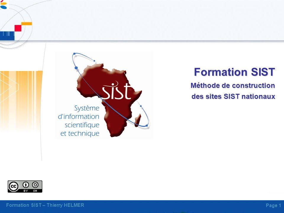 Formation SIST Méthode de construction des sites SIST nationaux