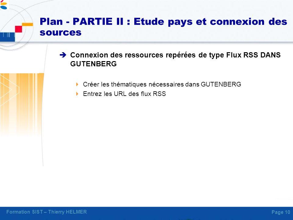 Plan - PARTIE II : Etude pays et connexion des sources