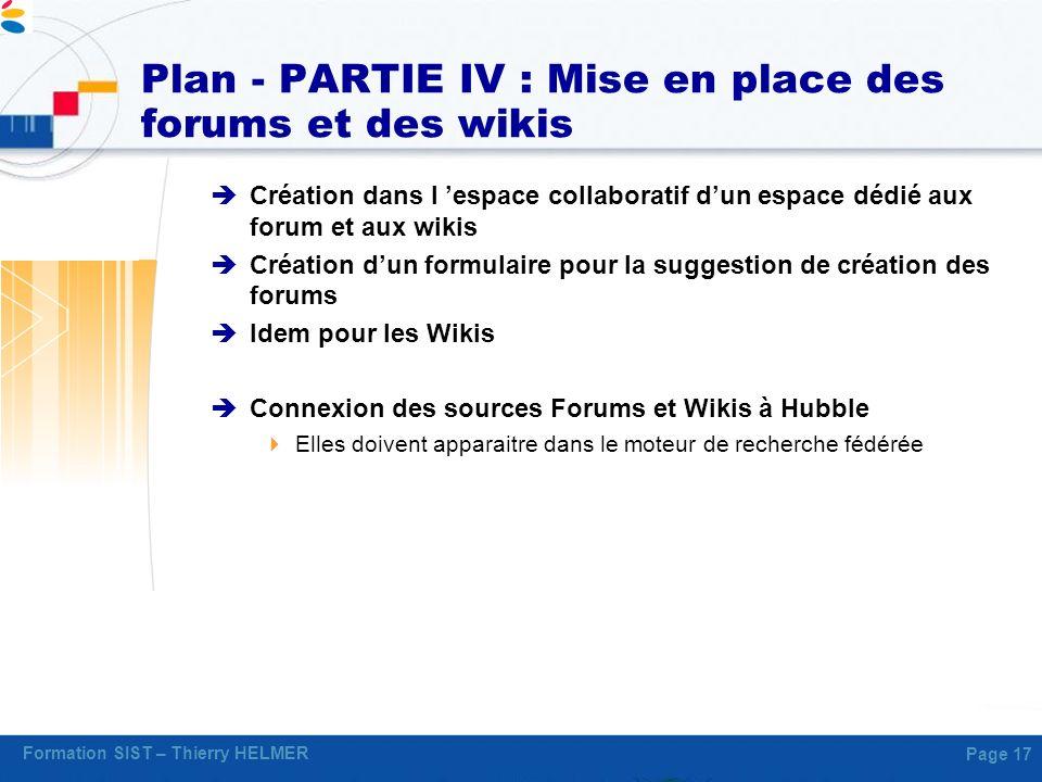 Plan - PARTIE IV : Mise en place des forums et des wikis