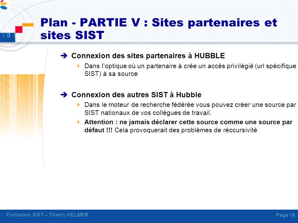 Plan - PARTIE V : Sites partenaires et sites SIST