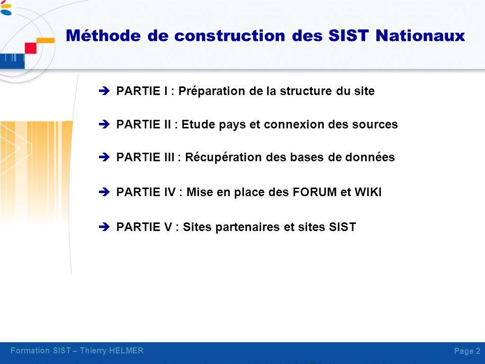 Méthode de construction des SIST Nationaux