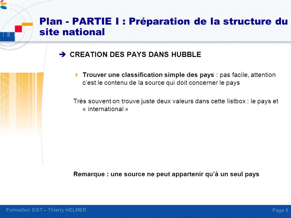 Plan - PARTIE I : Préparation de la structure du site national