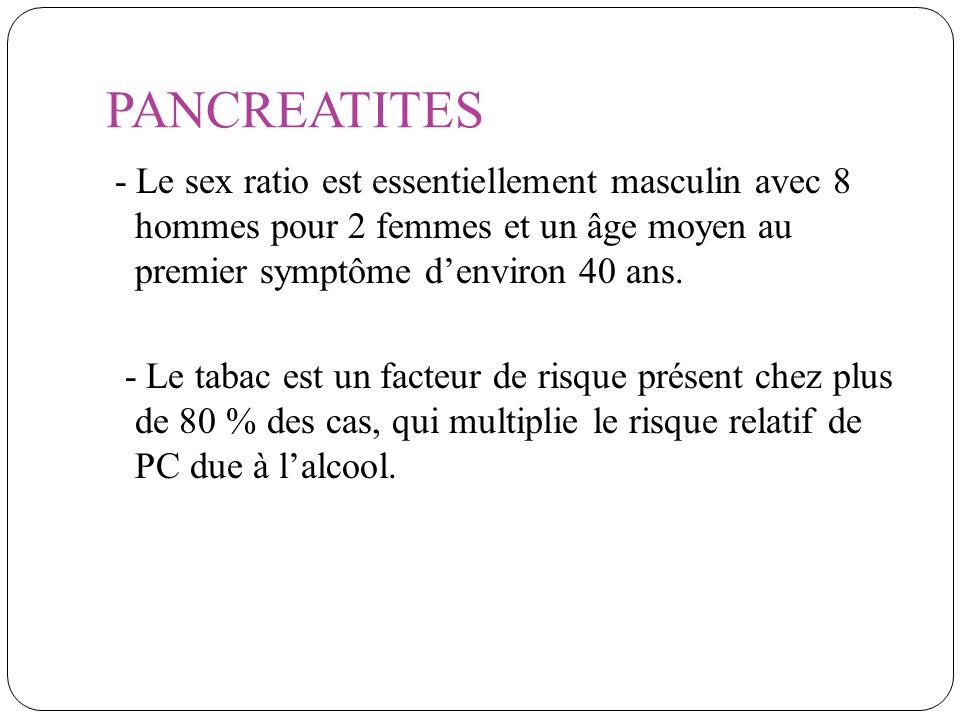 PANCREATITES - Le sex ratio est essentiellement masculin avec 8 hommes pour 2 femmes et un âge moyen au premier symptôme d'environ 40 ans.