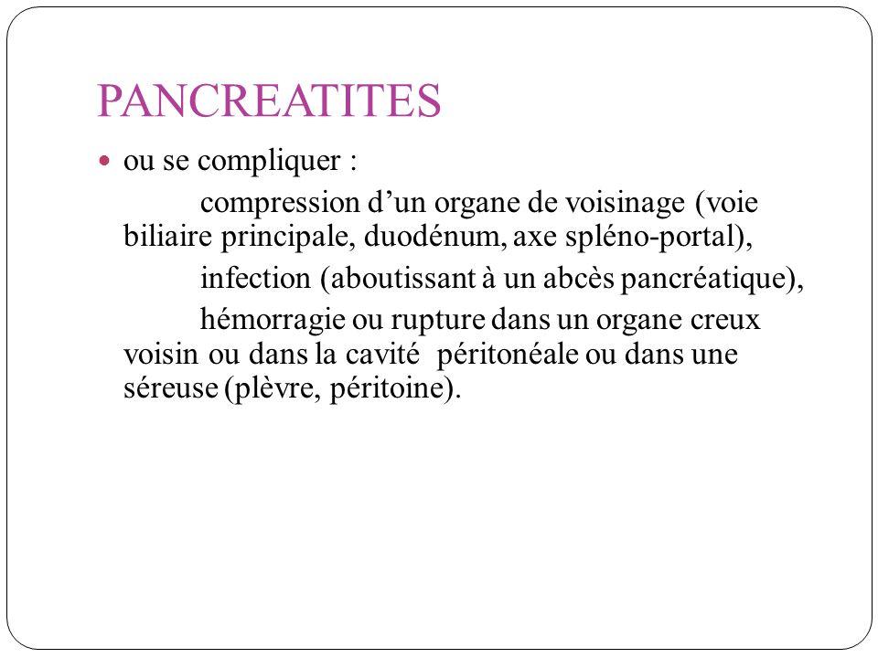 PANCREATITES ou se compliquer :