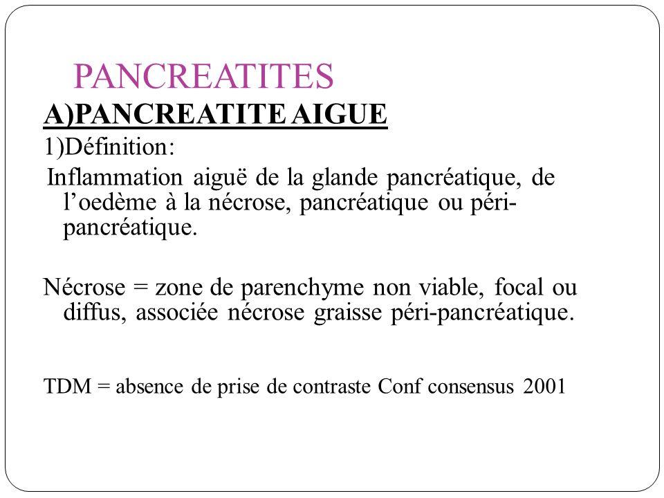 PANCREATITES A)PANCREATITE AIGUE 1)Définition: