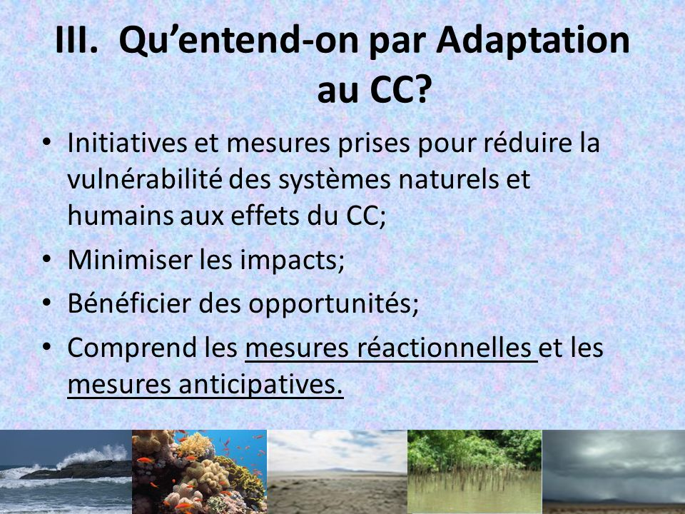 Qu'entend-on par Adaptation au CC
