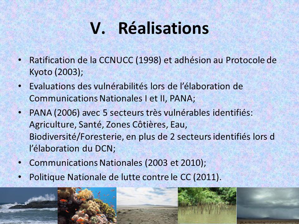 Réalisations Ratification de la CCNUCC (1998) et adhésion au Protocole de Kyoto (2003);