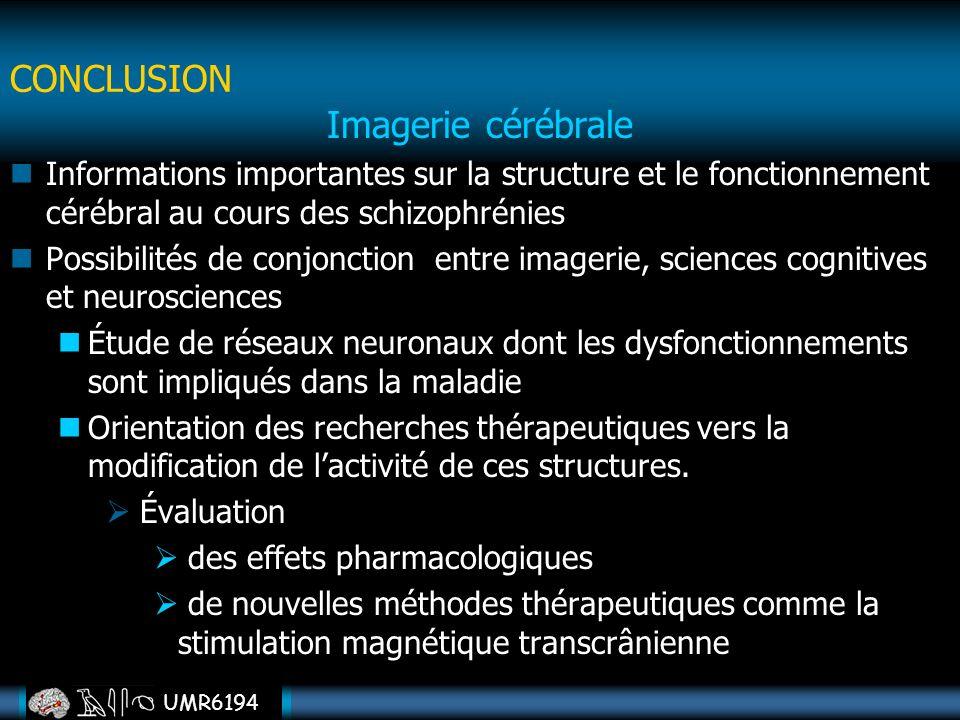 CONCLUSION Imagerie cérébrale