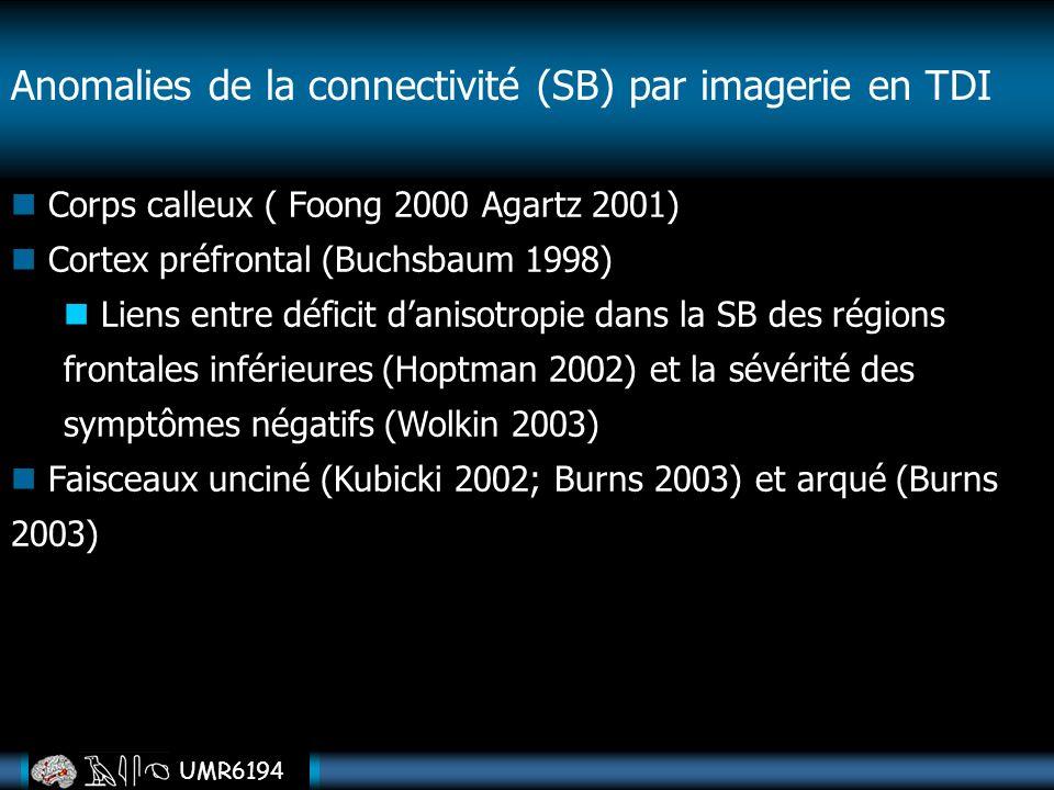 Anomalies de la connectivité (SB) par imagerie en TDI
