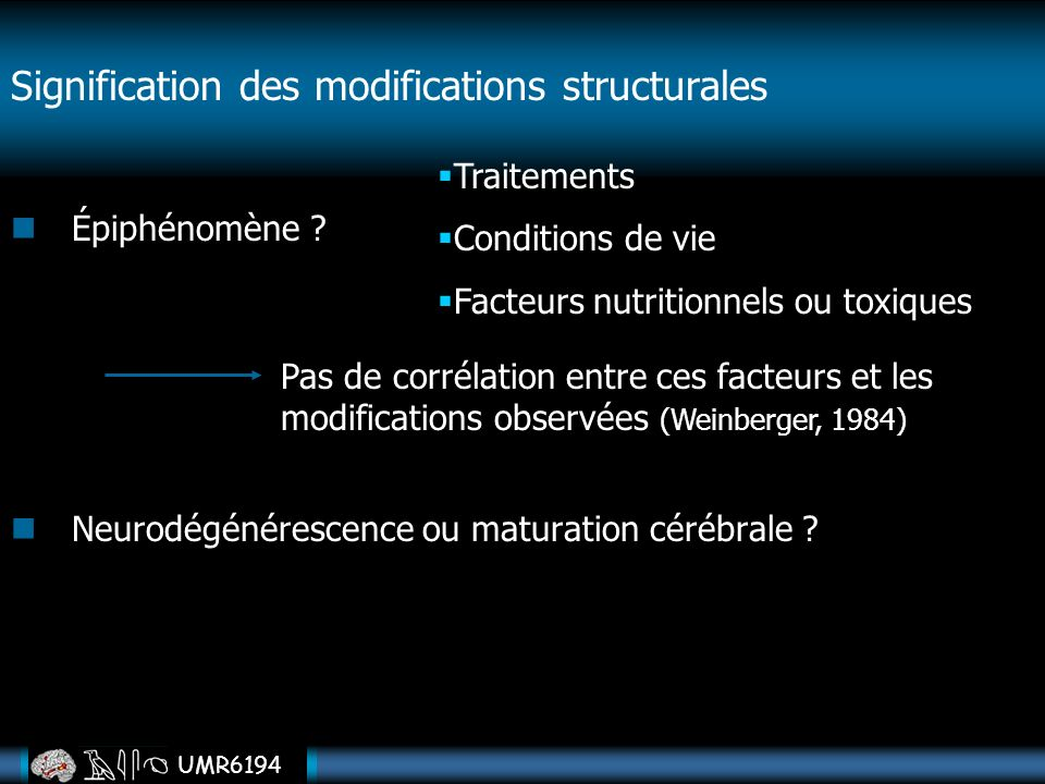 Signification des modifications structurales