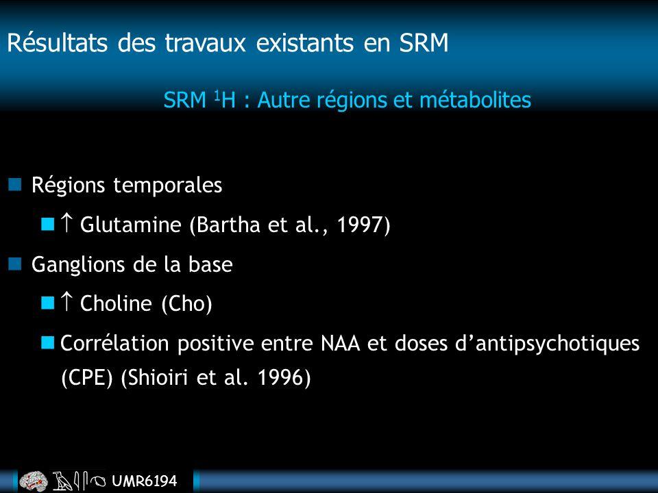 SRM 1H : Autre régions et métabolites