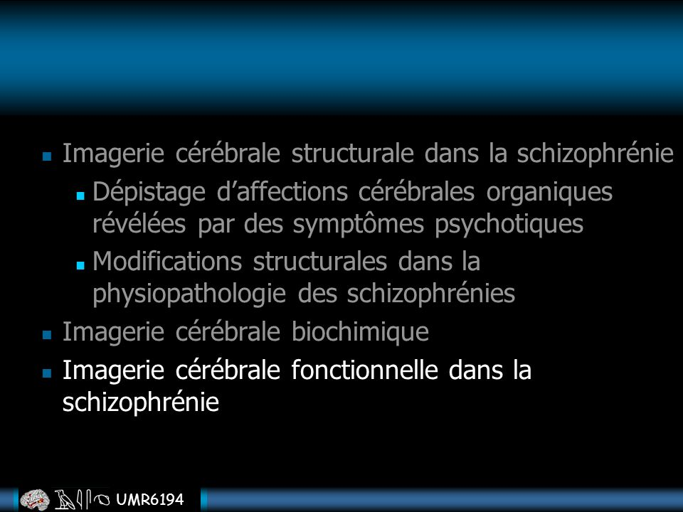 Imagerie cérébrale structurale dans la schizophrénie