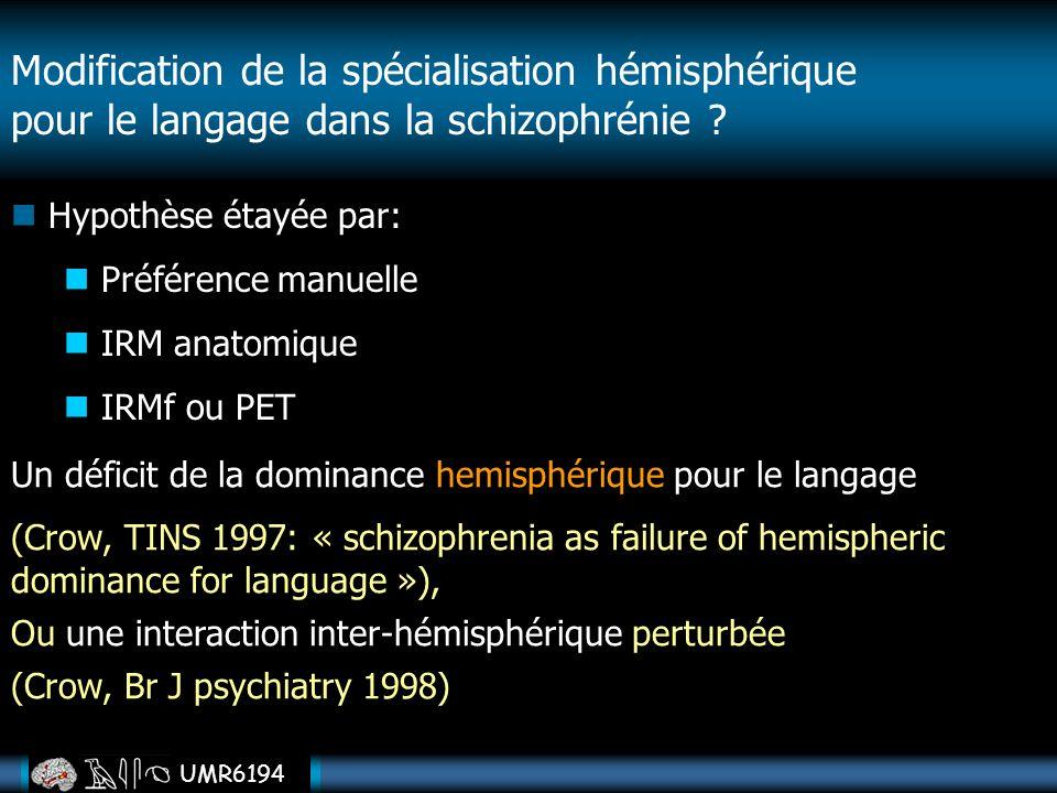 Modification de la spécialisation hémisphérique pour le langage dans la schizophrénie