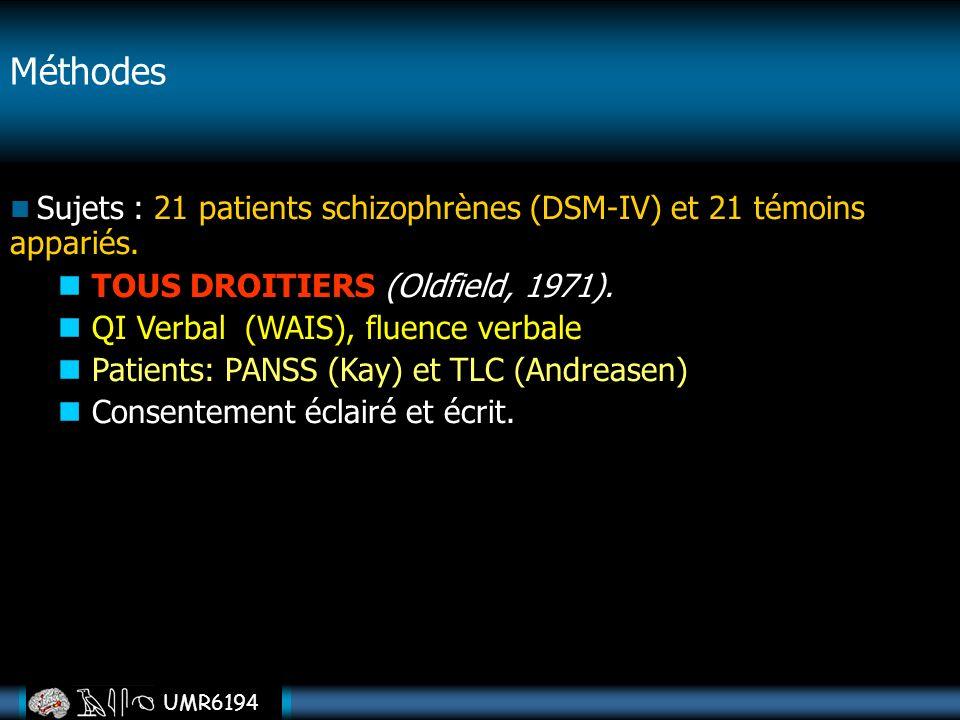 Méthodes TOUS DROITIERS (Oldfield, 1971).