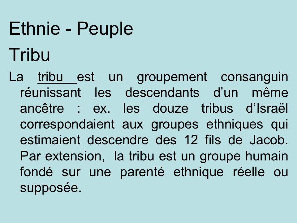 Ethnie - Peuple Tribu.