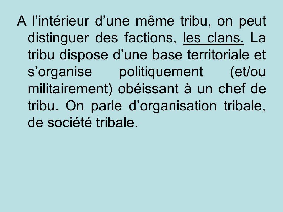 A l'intérieur d'une même tribu, on peut distinguer des factions, les clans.