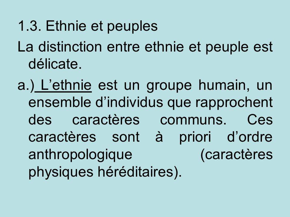 1.3. Ethnie et peuples La distinction entre ethnie et peuple est délicate.