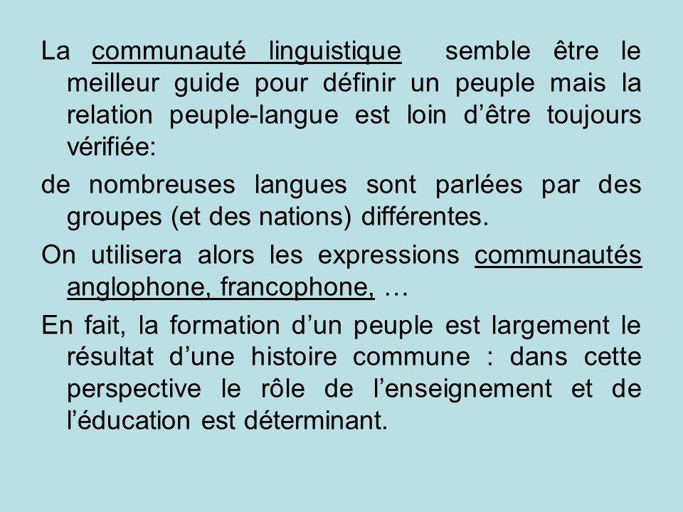La communauté linguistique semble être le meilleur guide pour définir un peuple mais la relation peuple-langue est loin d'être toujours vérifiée: