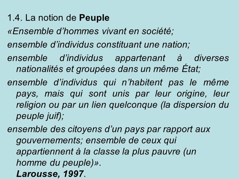 1.4. La notion de Peuple «Ensemble d'hommes vivant en société; ensemble d'individus constituant une nation;