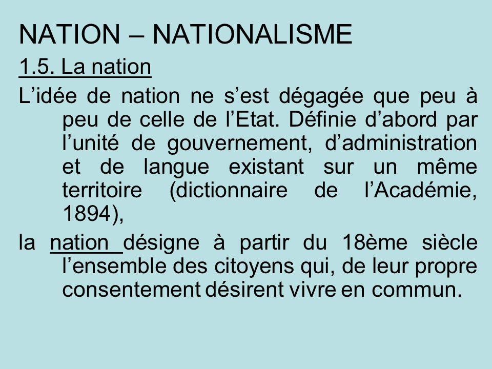 NATION – NATIONALISME 1.5. La nation
