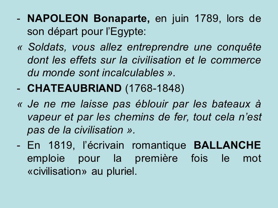 NAPOLEON Bonaparte, en juin 1789, lors de son départ pour l'Egypte: