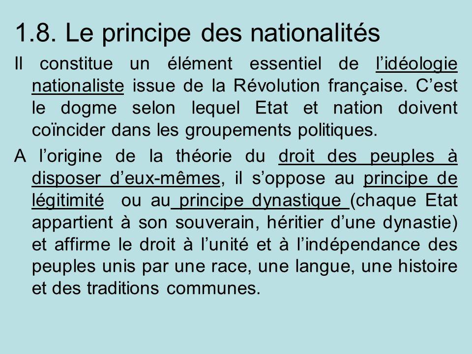 1.8. Le principe des nationalités