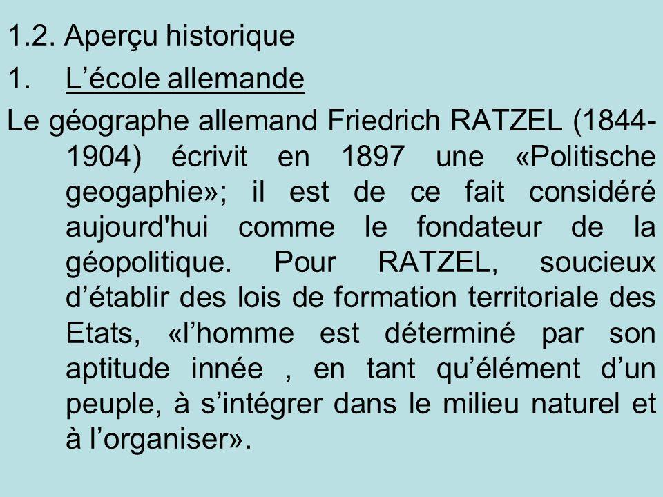 1.2. Aperçu historique L'école allemande.