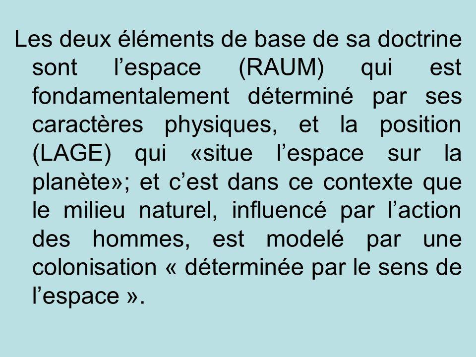 Les deux éléments de base de sa doctrine sont l'espace (RAUM) qui est fondamentalement déterminé par ses caractères physiques, et la position (LAGE) qui «situe l'espace sur la planète»; et c'est dans ce contexte que le milieu naturel, influencé par l'action des hommes, est modelé par une colonisation « déterminée par le sens de l'espace ».