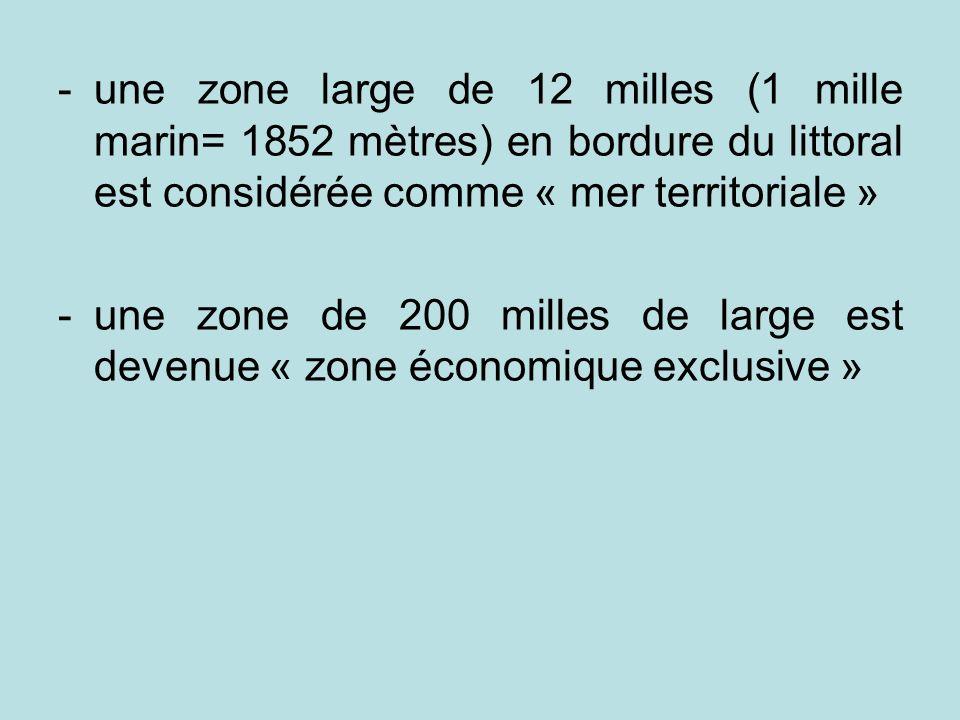 une zone large de 12 milles (1 mille marin= 1852 mètres) en bordure du littoral est considérée comme « mer territoriale »