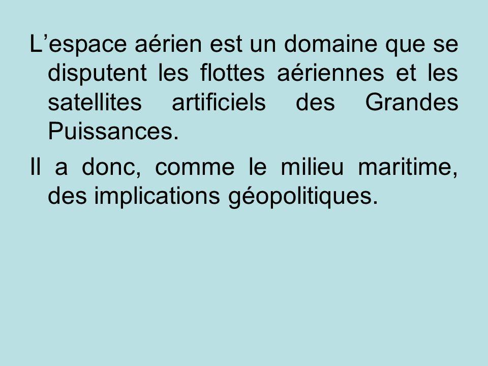L'espace aérien est un domaine que se disputent les flottes aériennes et les satellites artificiels des Grandes Puissances.