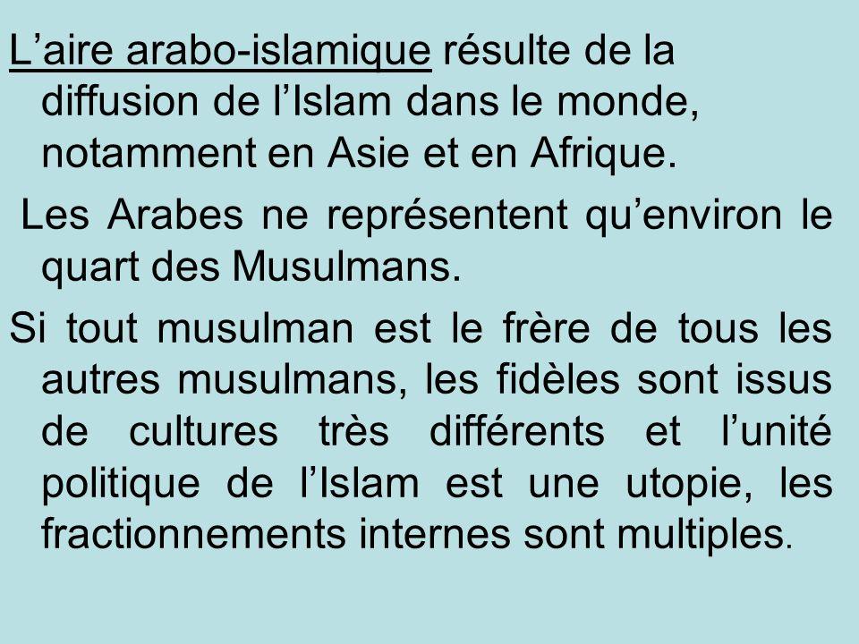 L'aire arabo-islamique résulte de la diffusion de l'Islam dans le monde, notamment en Asie et en Afrique.