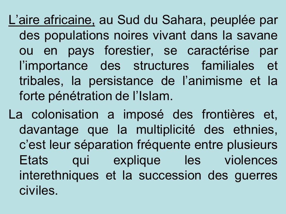 L'aire africaine, au Sud du Sahara, peuplée par des populations noires vivant dans la savane ou en pays forestier, se caractérise par l'importance des structures familiales et tribales, la persistance de l'animisme et la forte pénétration de l'Islam.