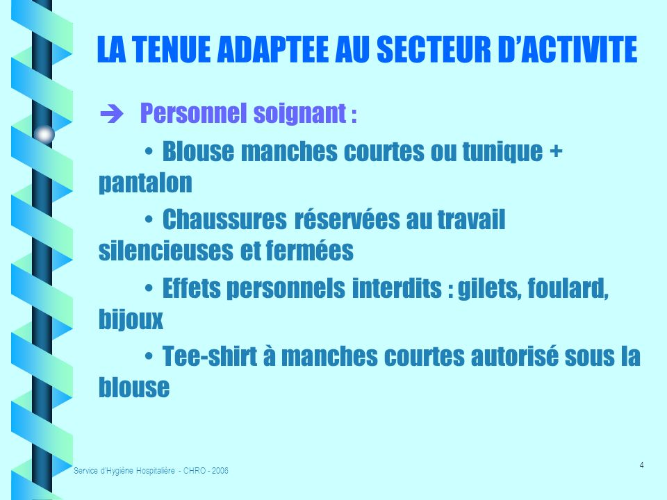 LA TENUE ADAPTEE AU SECTEUR D'ACTIVITE