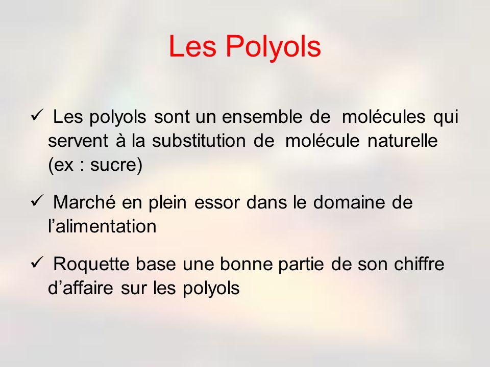 Les Polyols Les polyols sont un ensemble de molécules qui servent à la substitution de molécule naturelle (ex : sucre)