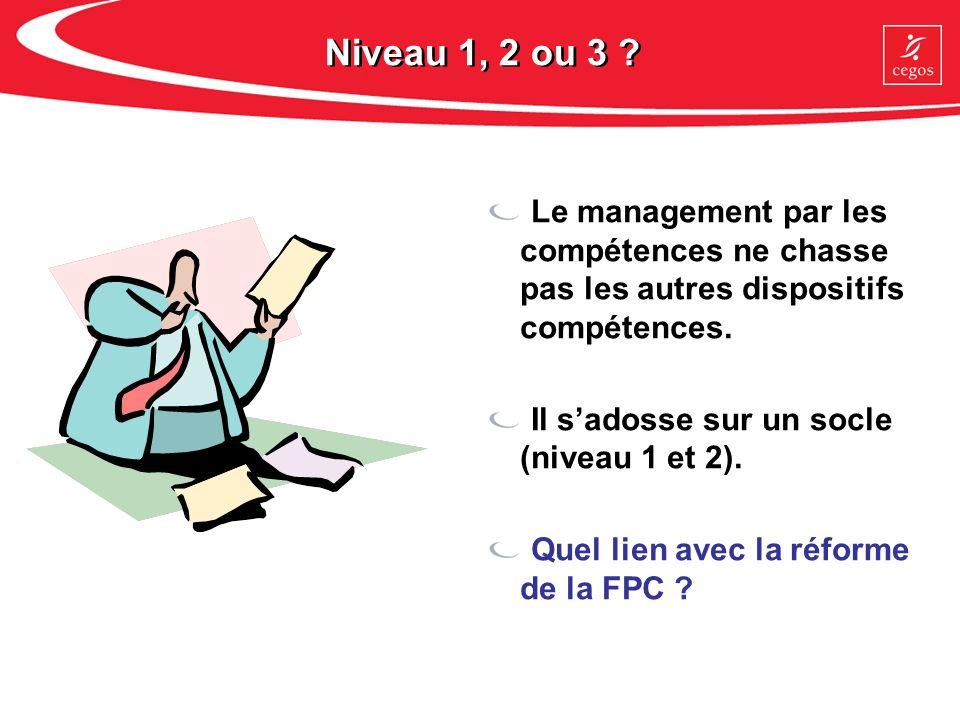 Niveau 1, 2 ou 3 Le management par les compétences ne chasse pas les autres dispositifs compétences.