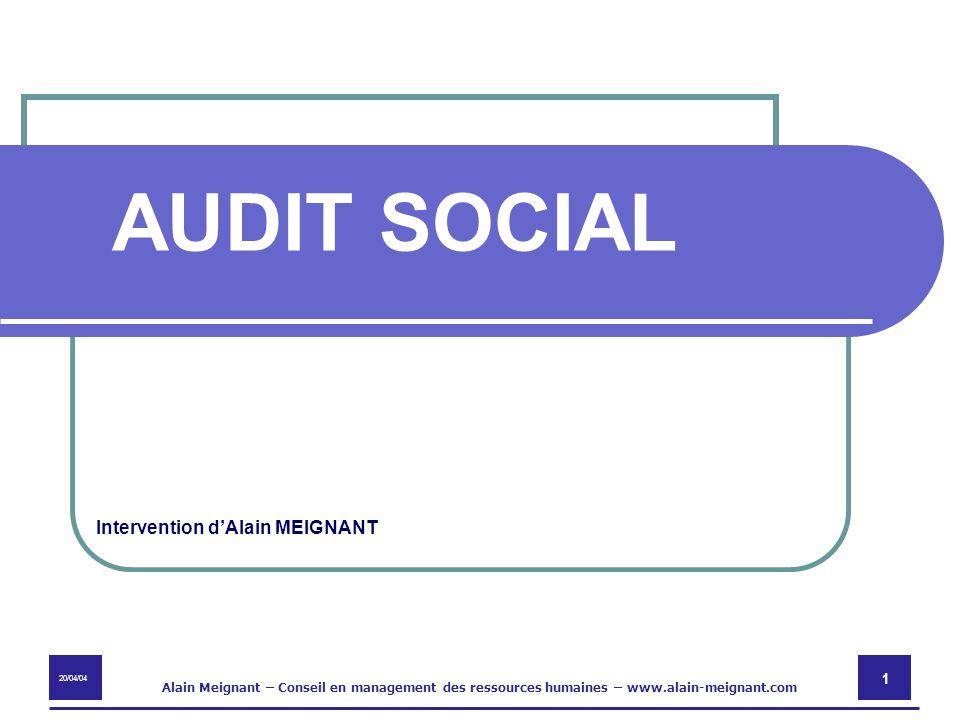 AUDIT SOCIAL Intervention d'Alain MEIGNANT