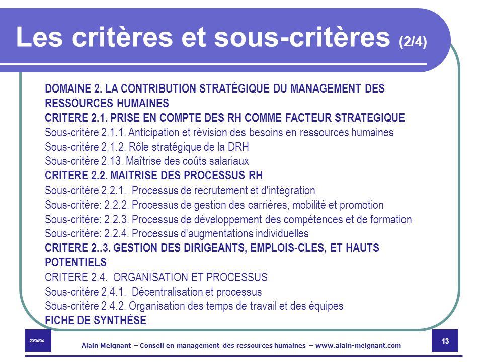 Les critères et sous-critères (2/4)