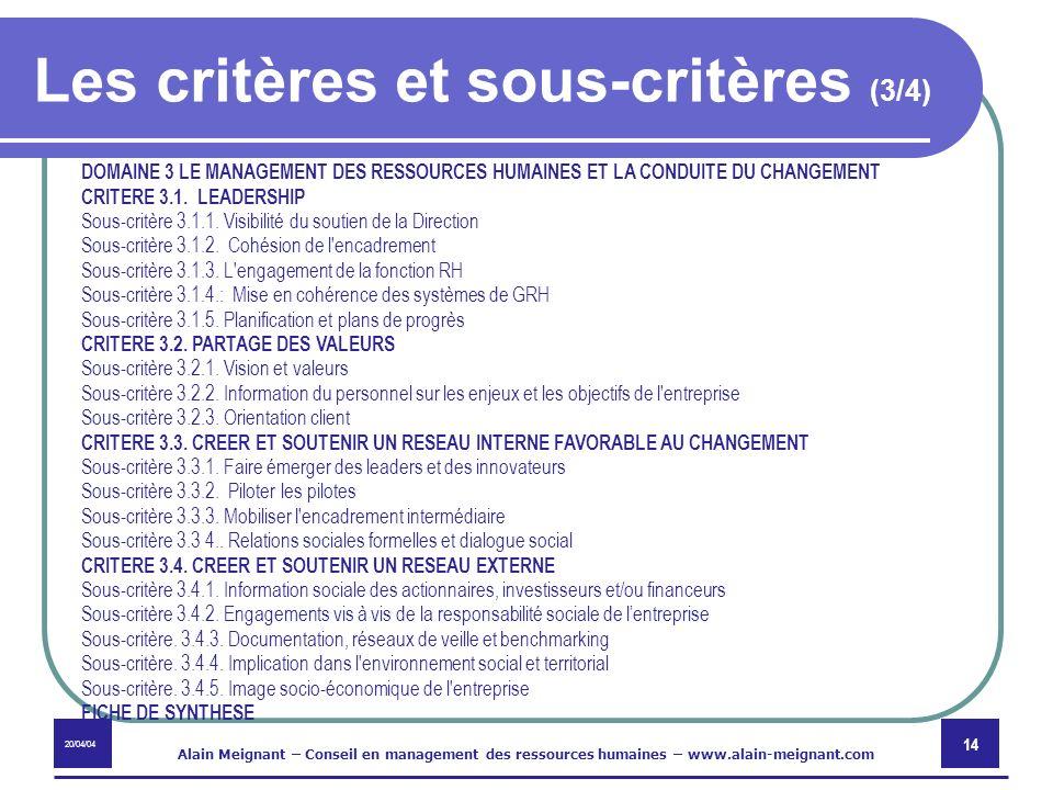 Les critères et sous-critères (3/4)