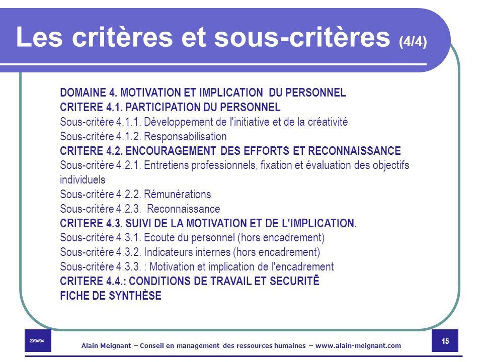 Les critères et sous-critères (4/4)