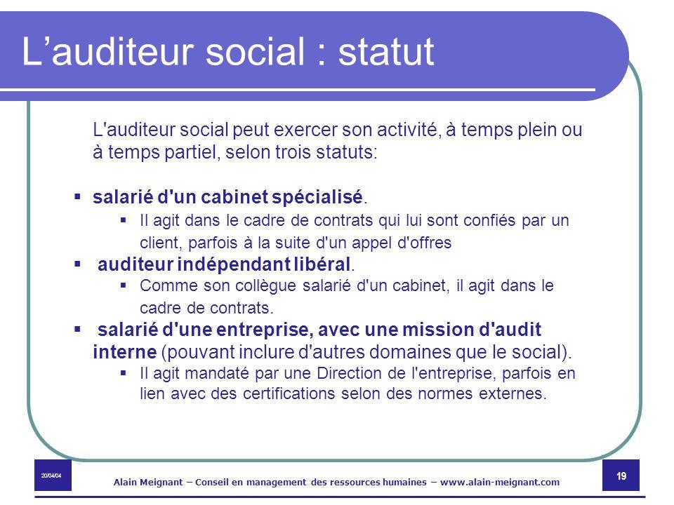 L'auditeur social : statut