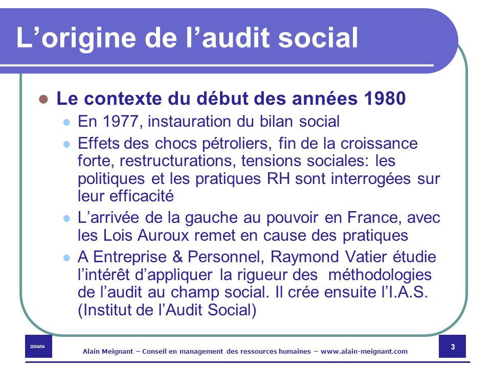 L'origine de l'audit social