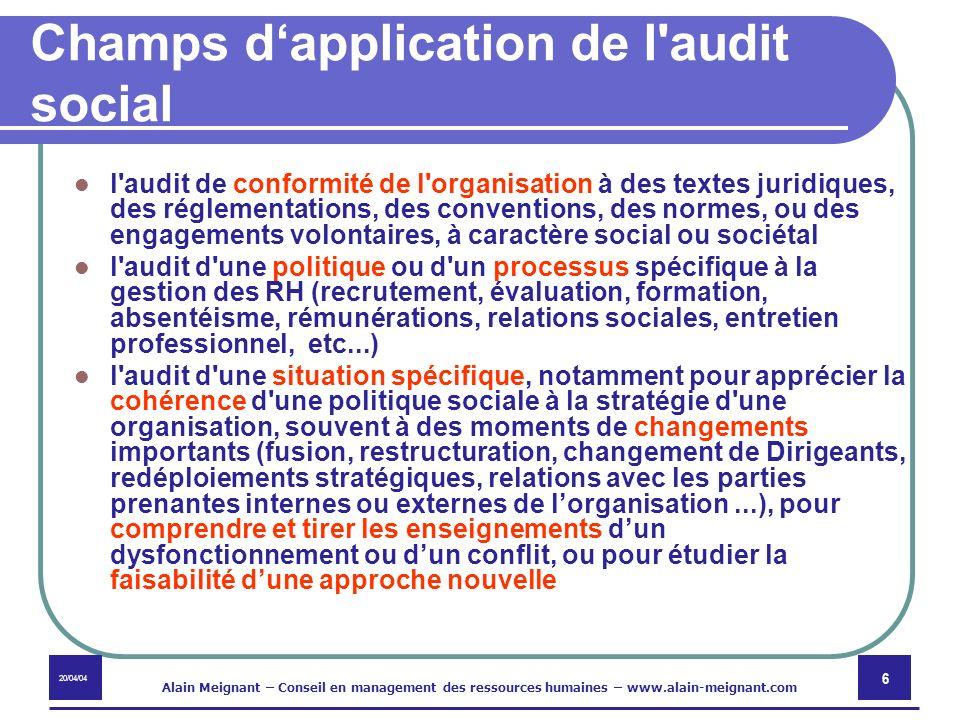 Champs d'application de l audit social