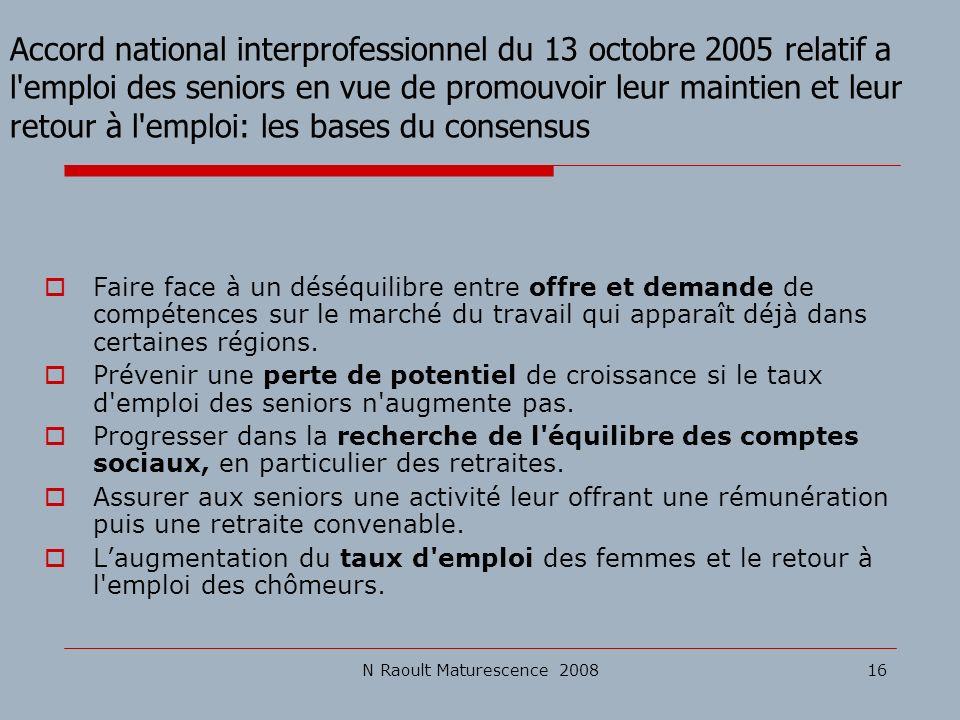 Accord national interprofessionnel du 13 octobre 2005 relatif a l emploi des seniors en vue de promouvoir leur maintien et leur retour à l emploi: les bases du consensus