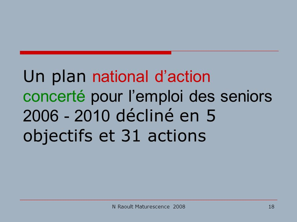 Un plan national d'action concerté pour l'emploi des seniors 2006 - 2010 décliné en 5 objectifs et 31 actions